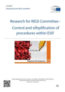 Control and Simplification of Procedures within European Structural and Investment Funds (ESIF)