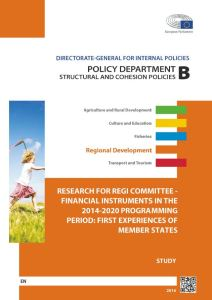 Financial instruments in the 2014-20 programming period: First experiences of Member States