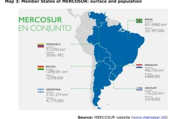 Map 3: Member States of MERCOSUR: surface and population