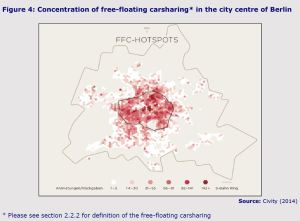 Figure 4: Concentration of free-floating carsharing in the city centre of Berlin