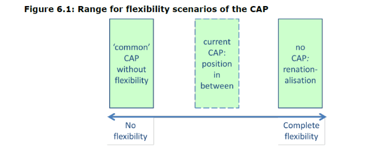 Figure 6.1: Range for flexibility scenarios of the CAP
