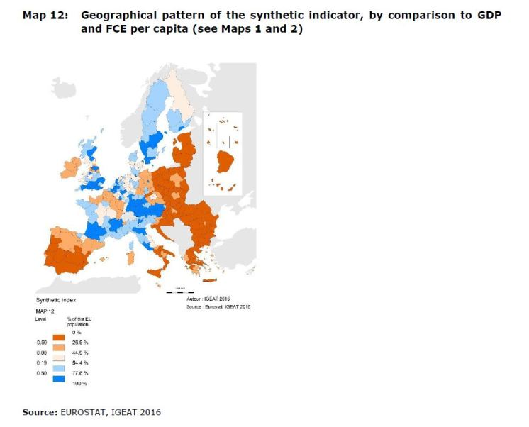 MAP 12 Geographical pattern of the synthetic indicator, by comparison to GDP and FCE per capita (see Maps 1 and 2)