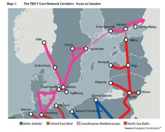 Map 1: The TEN-T Core Network Corridors - focus on Sweden