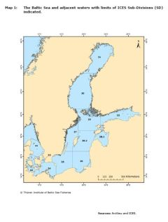Map 1: The Baltic Sea and adjacent waters with limits of ICES Sub-Divisions (SD) indicated.