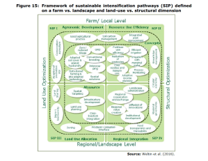 Figure 15: Framework of sustainable intensification pathways (SIP) defined on a farm vs. landscape and land-use vs. structural dimension