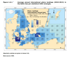 FIGURE 1.6.1: Average annual international plaice landings (2010-2013) in the Baltic Sea per statistical ICES rectangle