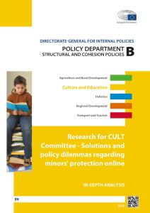 Solutions and policy dilemmas regarding minors' protection online
