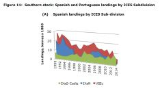 Figure 11: Southern stock: Spanish and Portuguese landings by ICES Subdivision (A) Spanish landings by ICES Sub-division