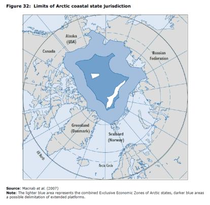 Figure 32 Limits of Arctic coastal state jurisdiction