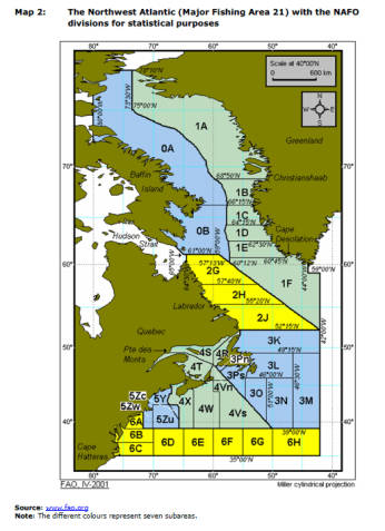 Map 2: The Northwest Atlantic (Major Fishing Area 21) with the NAFO divisions for statistical purposes