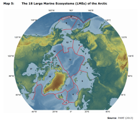 Map 5: The 18 Large Marine Ecosystems (LMEs) of the Arctic