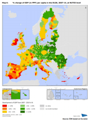 Map 6 % change of GDP (in PPP) per capita in the EU28, 2007-14, at NUTS3 level