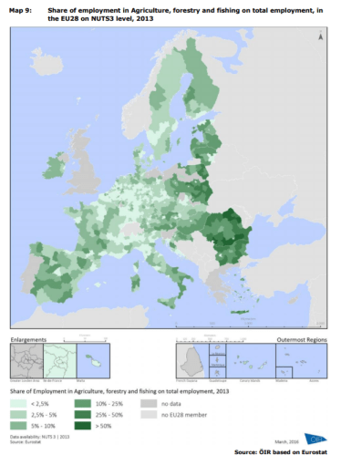Map 9 Share of employment in Agriculture, forestry and fishing on total employment, in the EU28 on NUTS3 level, 2013