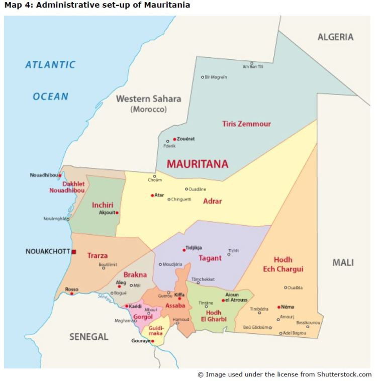 Map 4: Administrative set-up of Mauritania