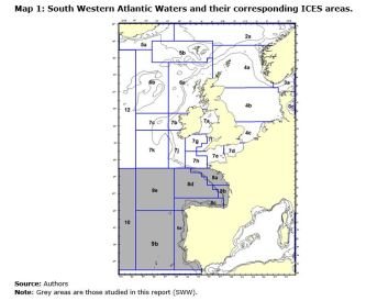Map 1: South Western Atlantic Waters and their corresponding ICES areas.