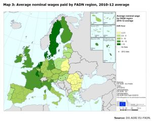 Map 3: Average nominal wages paid by FADN region, 2010-12 average