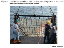 Figure 3: A small beam trawl fitted with a chain matrix configuration as fished on rough ground by inshore fishing vessels.