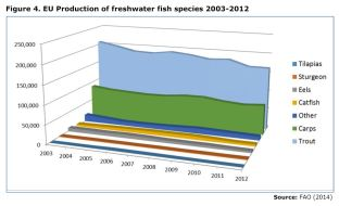 Figure 4. EU Production of freshwater fish species 2003-2012