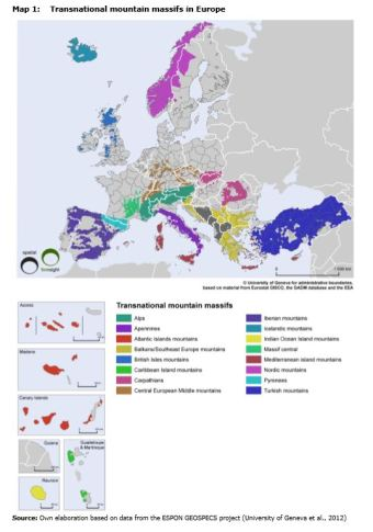 Map 1: Transnational mountain massifs in Europe