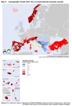 Map 2: Demographic trends 2001-2011 in transnational mountain massifs