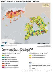 Map 6 Diversity of local economic profiles in the Carpathians
