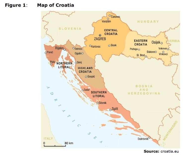 Figure 1: Map of Croatia