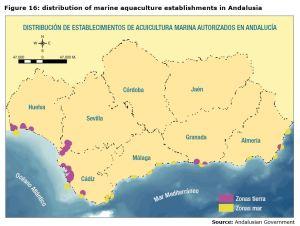 Figure 16: distribution of marine aquaculture establishments in Andalusia
