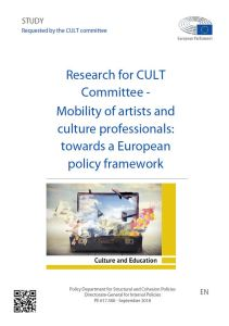 Mobility of artists and culture professionals: towards a European policy framework