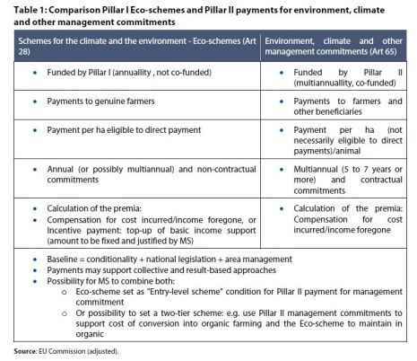 Table 1: Comparison Pillar I Eco-schemes and Pillar II payments for environment, climate and other management commitments