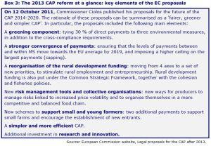 Box 3: The 2013 CAP reform at a glance: key elements of the EC proposals