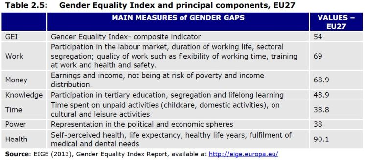 Table 2.5: Gender Equality Index and principal components, EU27
