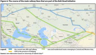 Figure 6: The course of the main railway lines that are part of the Belt-Road Initiative