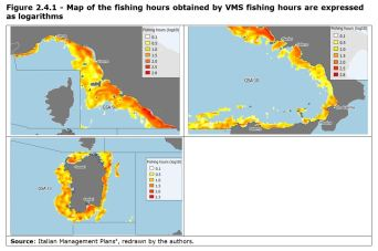 Figure 2.4.1 - Map of the fishing hours obtained by VMS fishing hours are expressed as logarithms