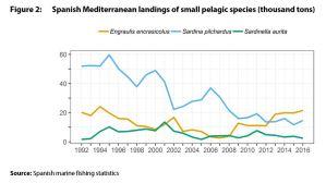 Spanish Mediterranean landings of small pelagic species (thousand tons)
