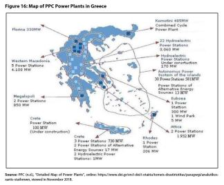 Figure 16: Map of PPC Power Plants in Greece