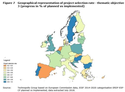Figure 7 Geographical representation of project selection rate - thematic objective 3 (progress in % of planned vs implemented)