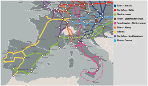 Map 2: The TEN-T Core Network Corridors - focus on the central part of the EU