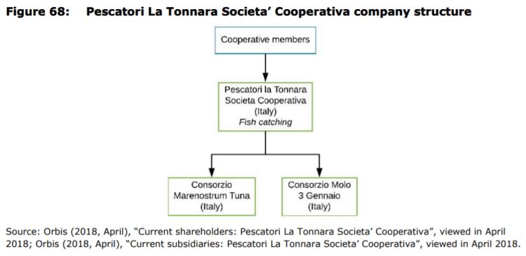 Figure 68: Pescatori La Tonnara Societa' Cooperativa company structure