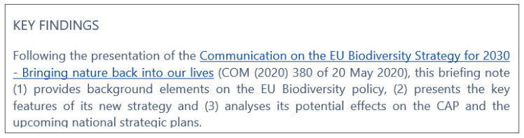 The EU 2030 Biodiversity Strategy