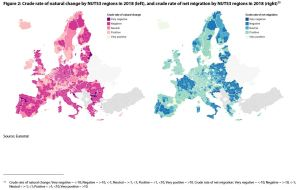 Figure 2: Crude rate of natural change by NUTS3 regions in 2018 (left), and crude rate of net migration by NUTS3 regions in 2018 (right)