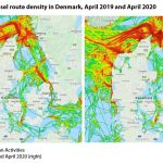Map 4: Fishing vessel route density in Denmark, April 2019 and April 2020