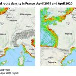 Map 5: Fishing vessel route density in France, April 2019 and April 2020