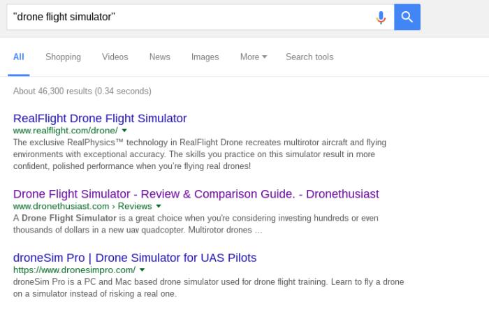 First search - Drone Flight Simulator