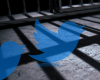 Jail bar shadows cast on a floor, with two Twitter logos and a ResearchBuzz logo over it.