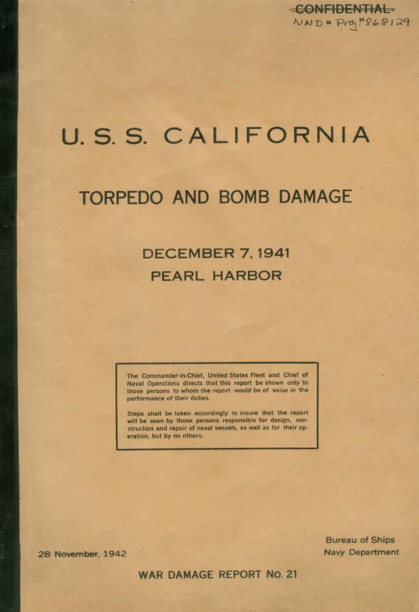 ResearcherLarge  BB44 USS California Pearl Harbor Attack Damage Report