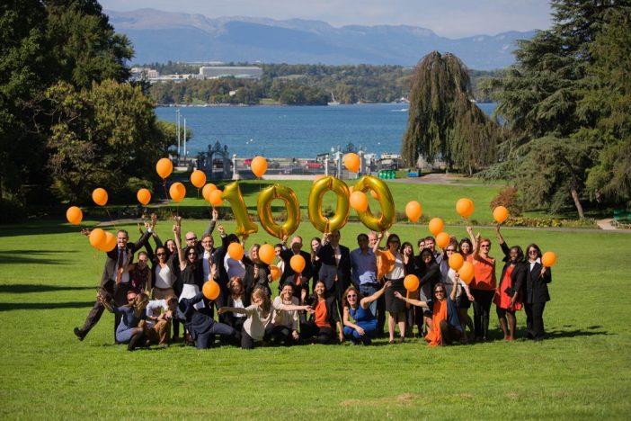 The UICC Team celebrated 1,000 member organisations in the Parc des Eaux-Vives in Geneva, Switzerland.