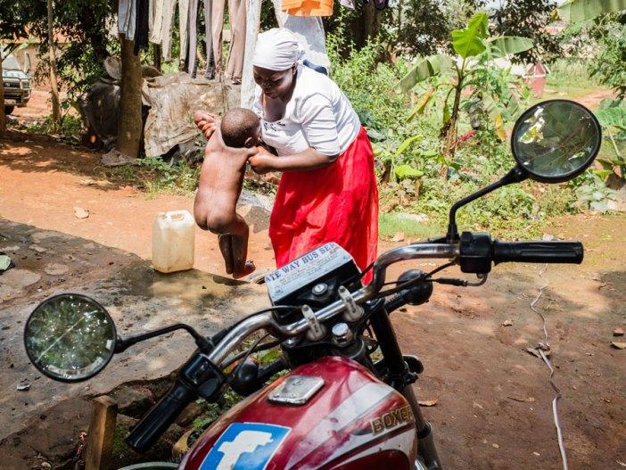 washing baby africa