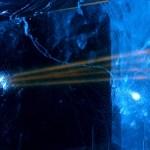 A laser beam splits in two