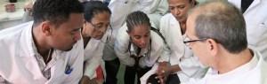 The team undertaking blood culture testing in Ethiopia
