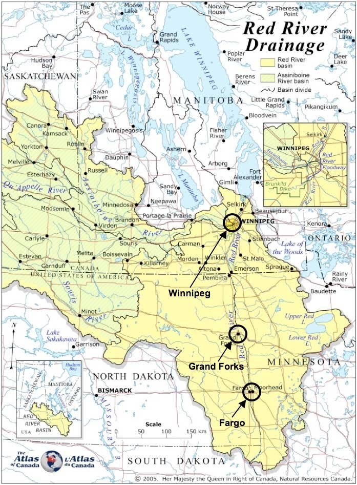 Red River Of The North Map : river, north, River, Drainage, Flows, South, North, Shallow..., Download, Scientific, Diagram
